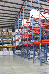 Shelves holding materials representing the services of third party logistics provider Days Distribution & Logistics in Elkhart, IN