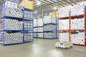 The storage section of the warehouse of third party logistics provider EQ Logistics in Elkhart, IN