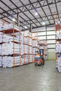 Shelves holding materials representing the services of logistics and distribution provider Days Distribution & Logistics in Elkhart, IN