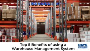 Warehouse shelving with inventory using a Warehouse Management System.